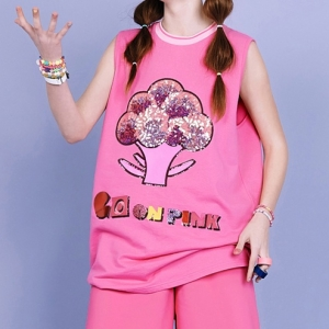 BROCCOLI SLEEVELESS TOP (PINK)