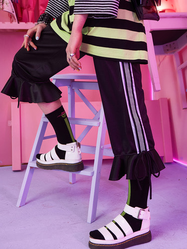 VVV BLACK TAPE RIBBON FLARE PANTS