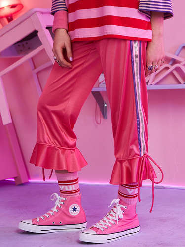 VVV PINK TAPE RIBBON FLARE PANTS