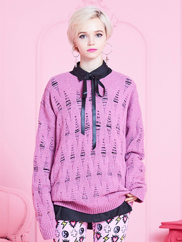 VVV DISTRESSED PINK KNIT SWEATER