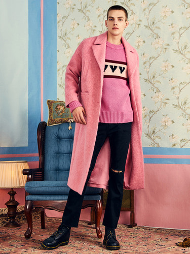 VVV PINK MOHAIR LONG COAT