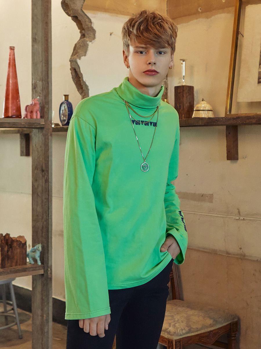 VVV NEON GREEN VUI TURTLE NECK TSHIRT