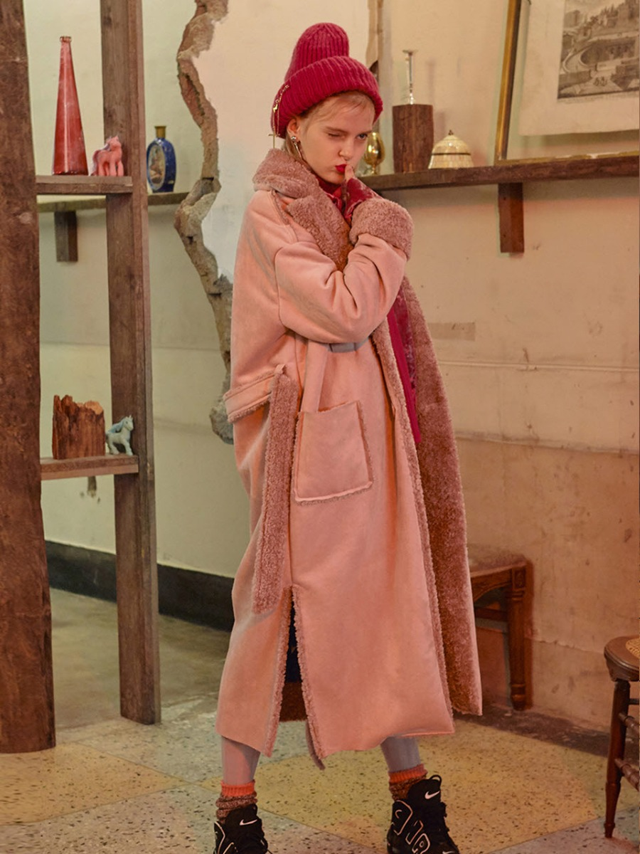 VVV PINK FAUX SHEARLING COAT
