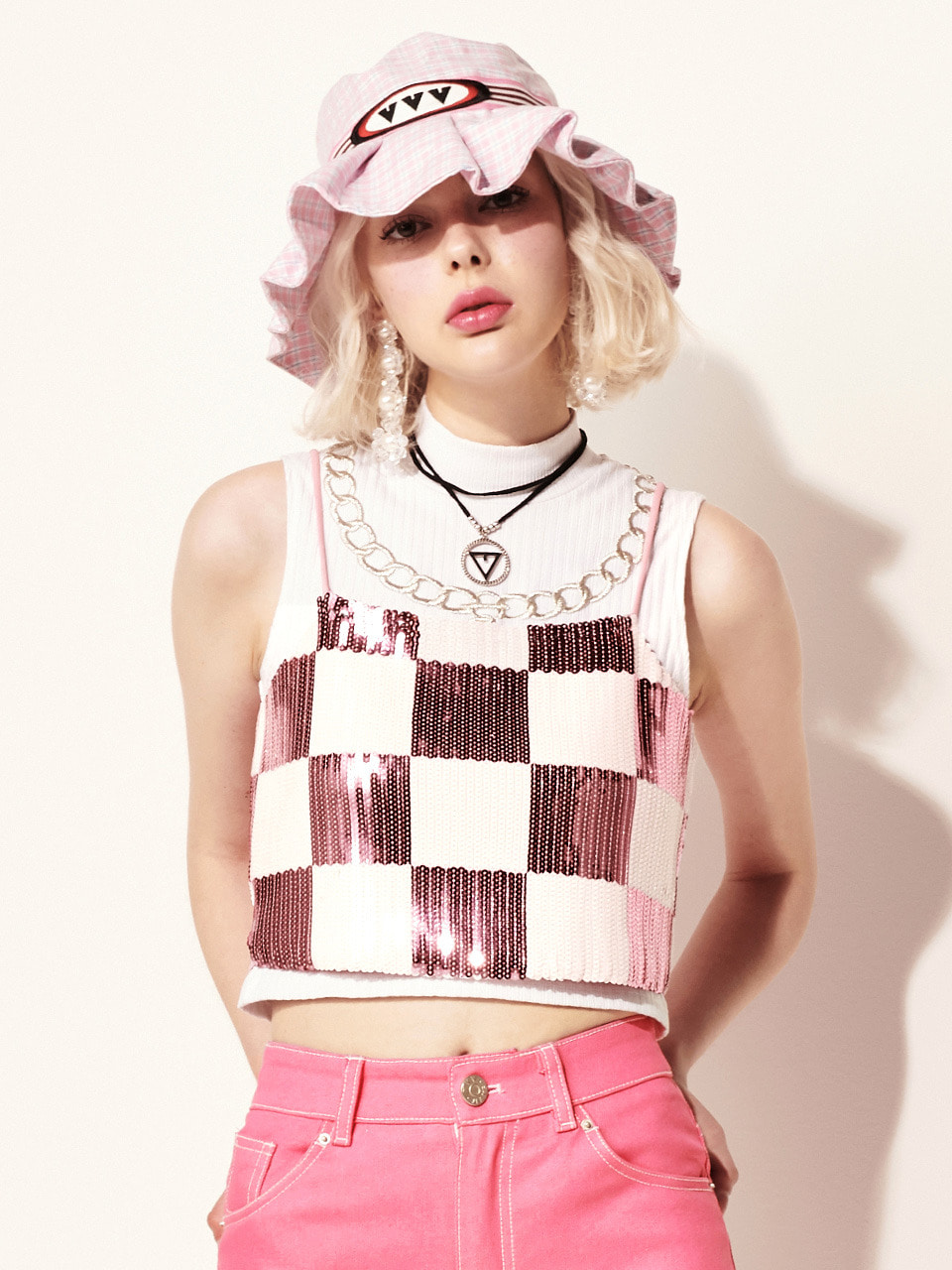 VVV PINK CHESS SEQUIN MINI TOP