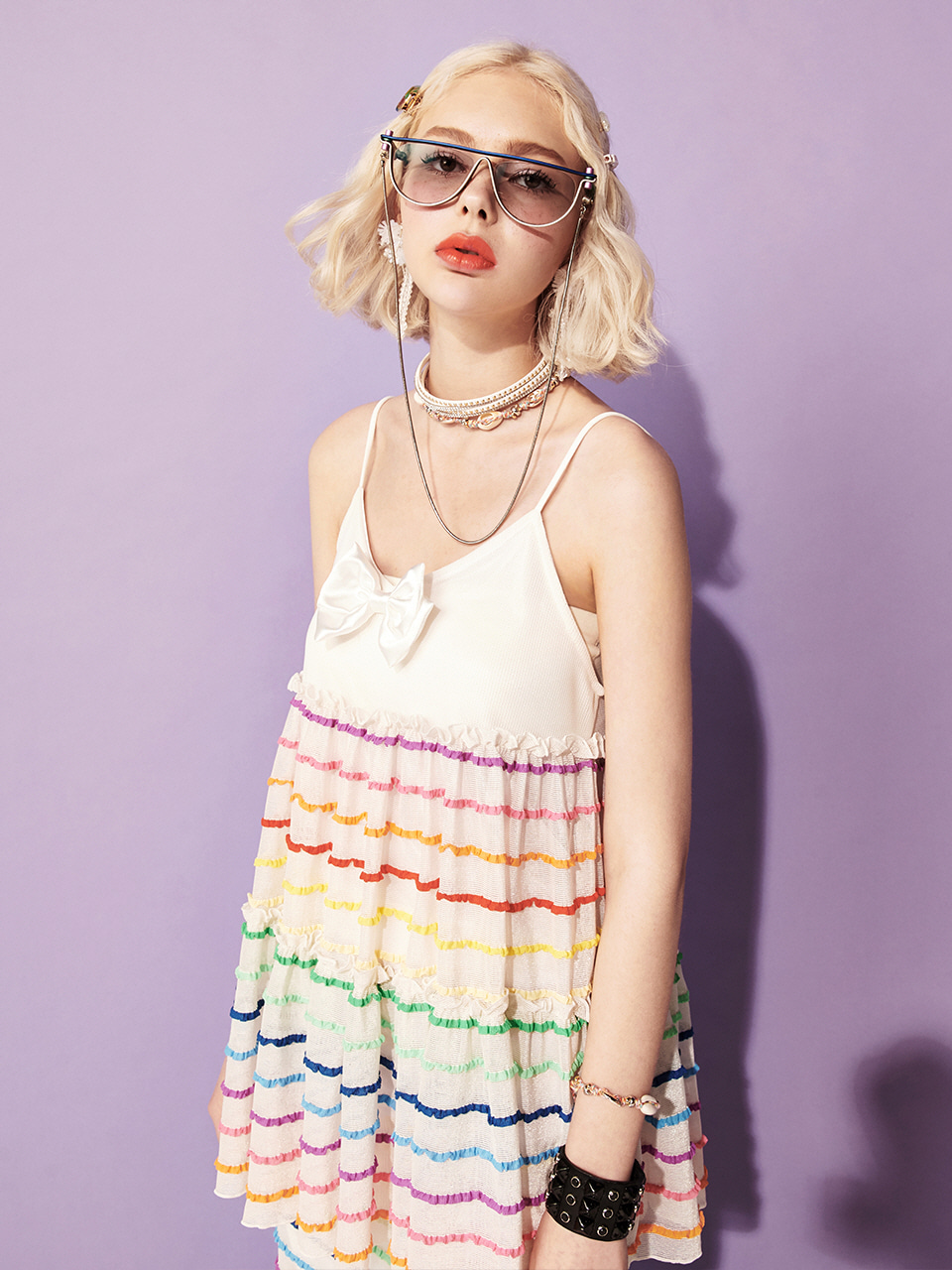 VVV WHITE RAINBOW FRILL TOP
