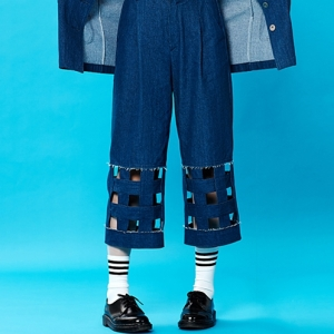 DENIM GRID LEG PANTS (BLUE)