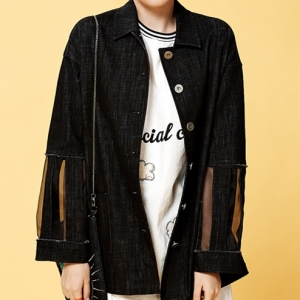 BLACK DENIM HALF JACKET (BLACK)