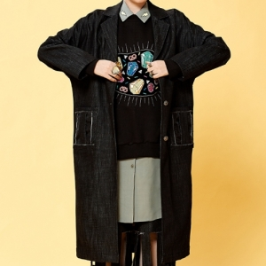 BLACK DENIM LONG COAT (BLACK)