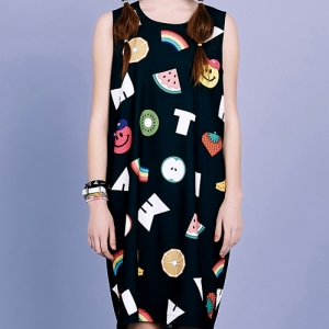SMILE FRUITS SLEEVELESS DRESS (BLACK)