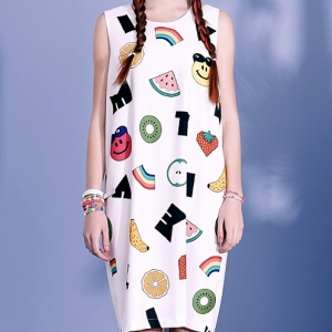 SMILE FRUITS SLEEVELESS DRESS (WHITE)