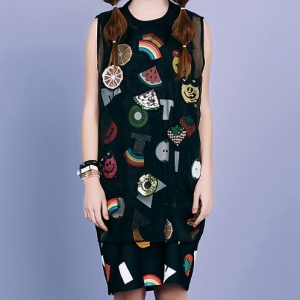 SMILE FRUITS SLEEVELESS TOP (BLACK)