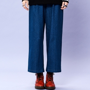 DENIM WIDE LEG PANTS (BLUE)