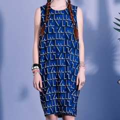 VITAMIN SLEEVELESS DRESS - BLUE