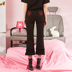 VVV BLACK HEART PEACE FLARE DENIM PANTS