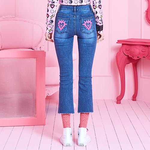 VVV PINK STAR HEART BLUE JEANS