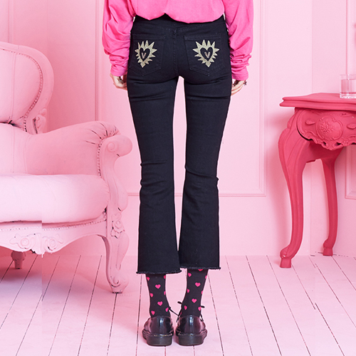 VVV GOLD STAR HEART BLACK JEANS