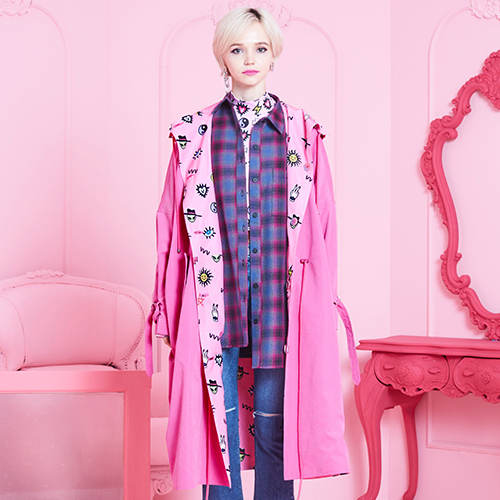 VVV MIRACLE CHARMS PINK RIVERSIBLE LONG COAT