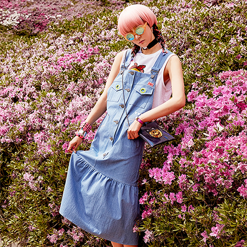 VVV BLUE DENIM OVERALL DRESS