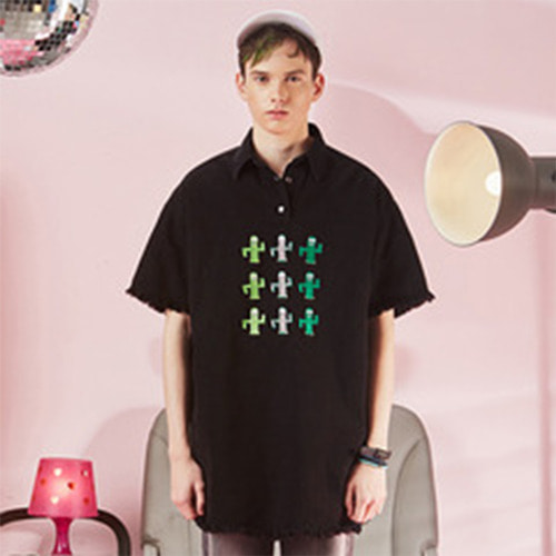 VVV CACTUS SET BLACK OVERSIZE SHIRT