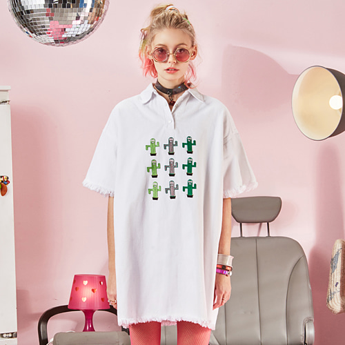VVV CACTUS SET WHITE OVERSIZE SHIRT