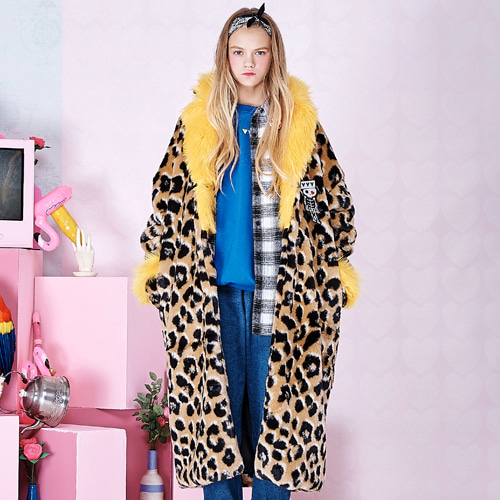 [B1A4 공찬 착용]VVV FUNKY LEOPARD FUR COAT (YELLOW)
