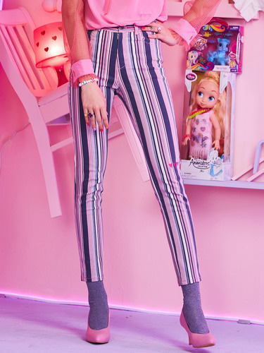 VVV LOVE VUI PINK STRIPE DENIM PANTS