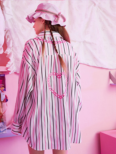 VVV PINK HEART CHAIN STRIPE SHIRT
