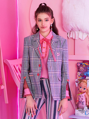 VVV ONE OF KIND PINK HEART CHECK NOAH JACKET