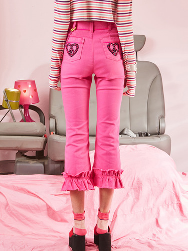 VVV PINK HEART PEACE FLARE DENIM PANTS