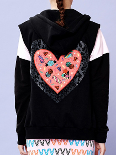 SWEET HEART VEST (BLACK)
