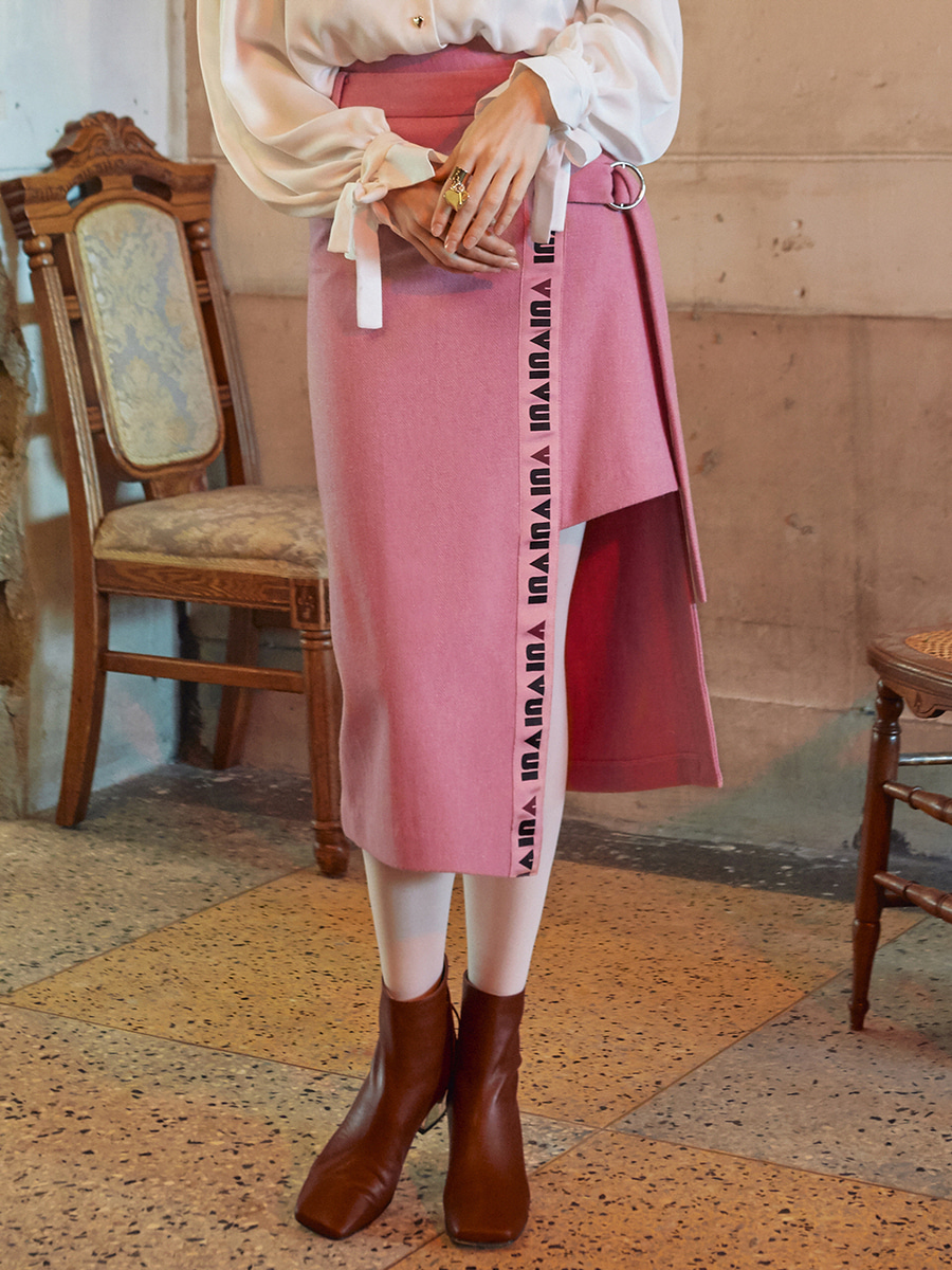 VVV PINK LOGO TAPE WRAP SKIRT