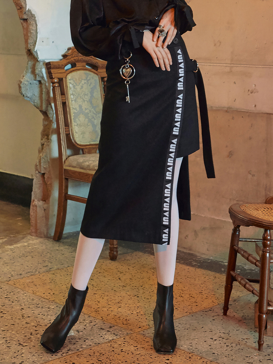 VVV BLACK LOGO TAPE WRAP SKIRT
