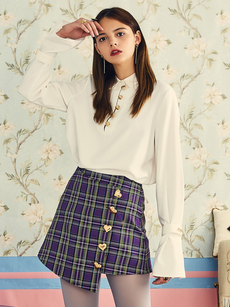 VVV PURPLE CHECK HEART BUTTON SKIRT