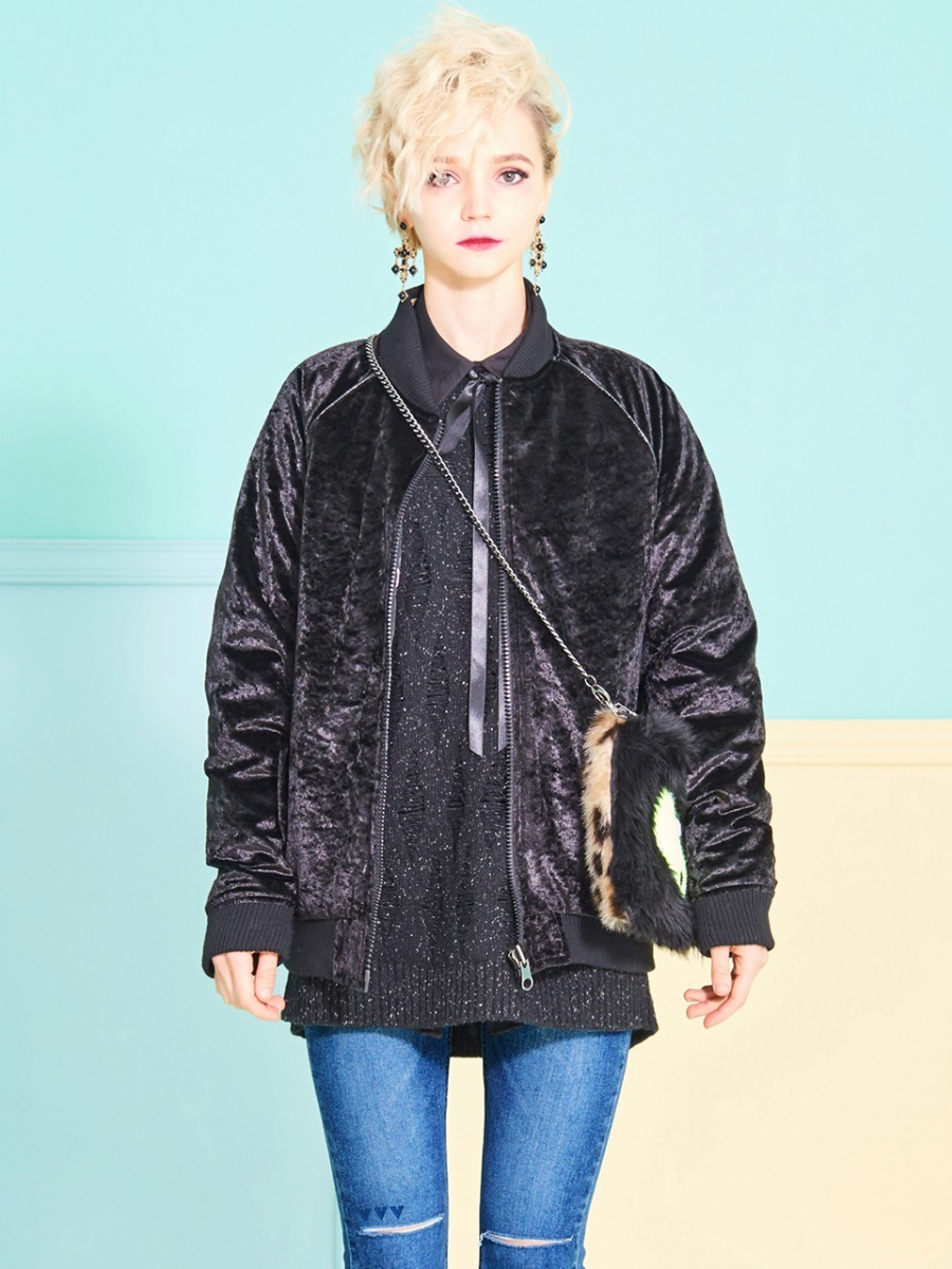 VVV MIRACLE CHARMS BLACK RIVERSIBLE BOMBER JACKET