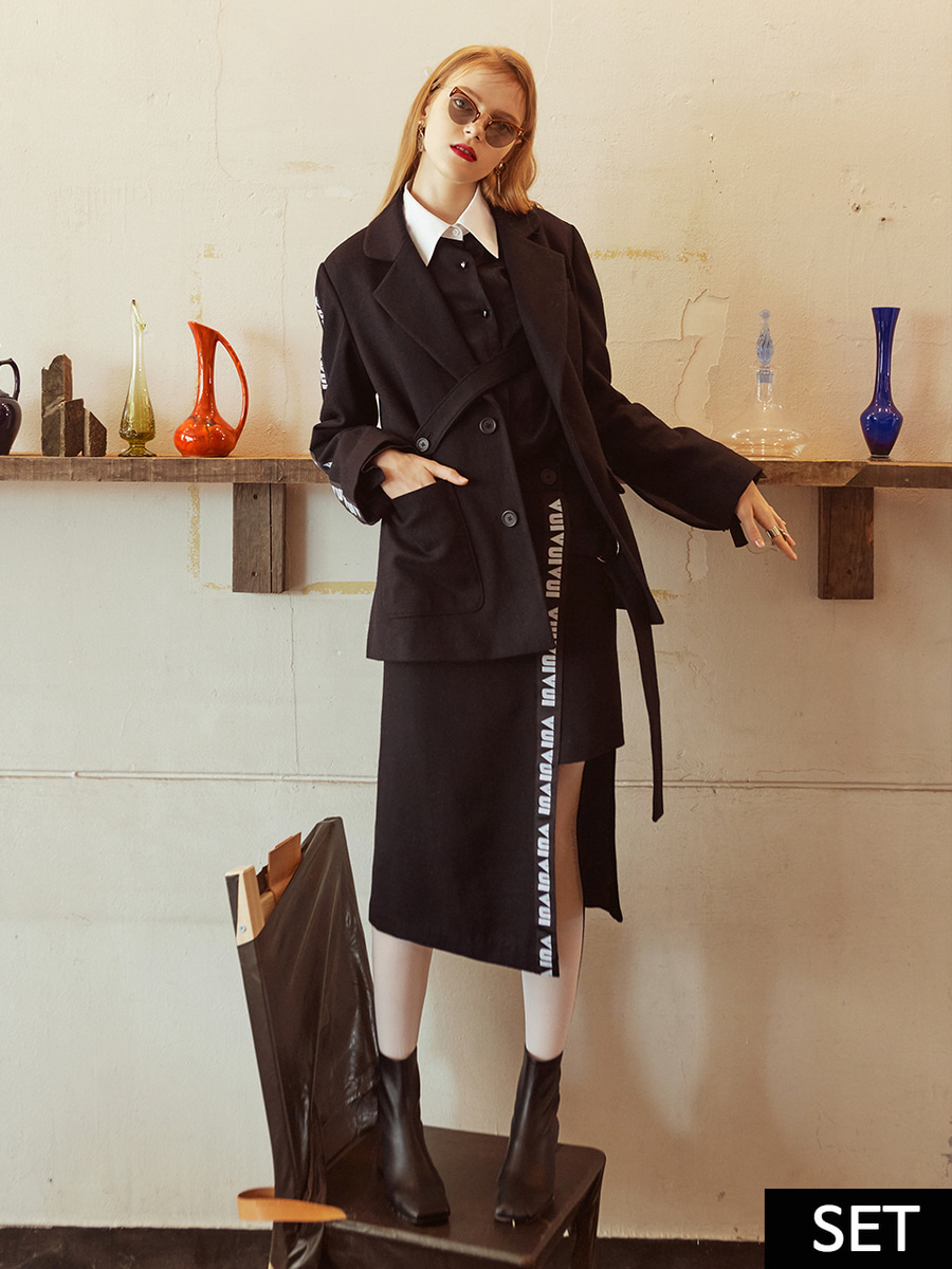 [ SET ] VVV BLACK HEART LOGO TAPE JACKET + VVV BLACK LOGO TAPE WRAP SKIRT