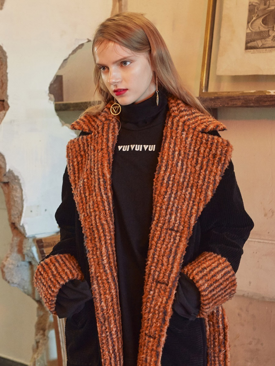 VVV BLACK FAUX FUR CORDUROY COAT
