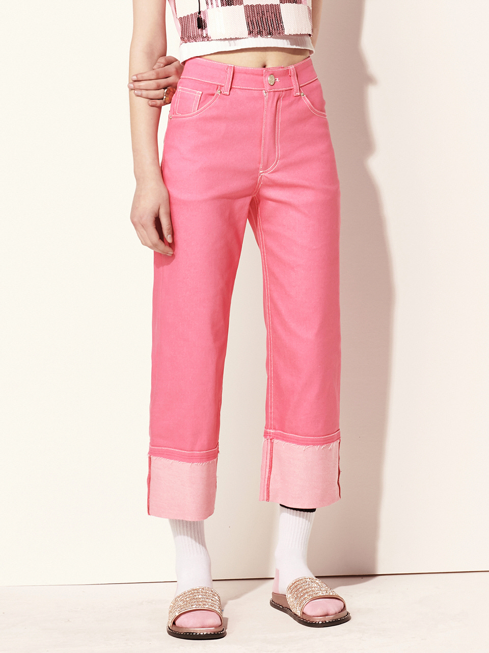 VVV PINK ROLL UP PANTS