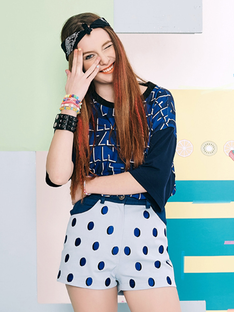 [세러데이 하늘 착용] STRAWBERRY DOTS PANTS (BLUE)